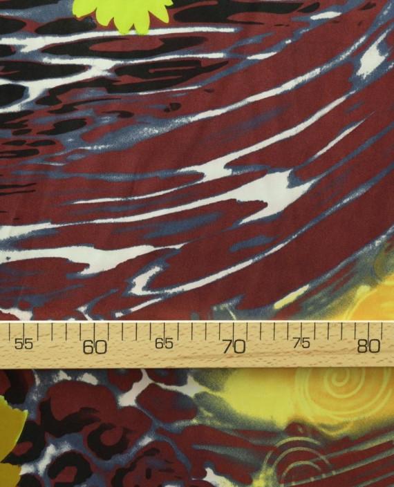 Ткань Атлас Принт 147 цвет коричневый цветочный картинка 2