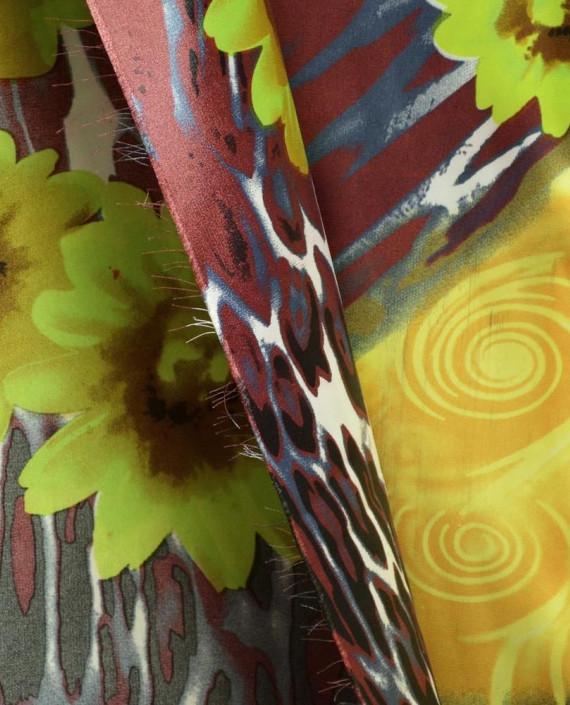 Ткань Атлас Принт 147 цвет коричневый цветочный картинка 1
