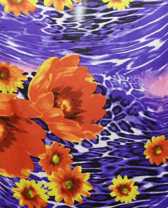 Ткань Атлас Принт 150 цвет синий цветочный картинка