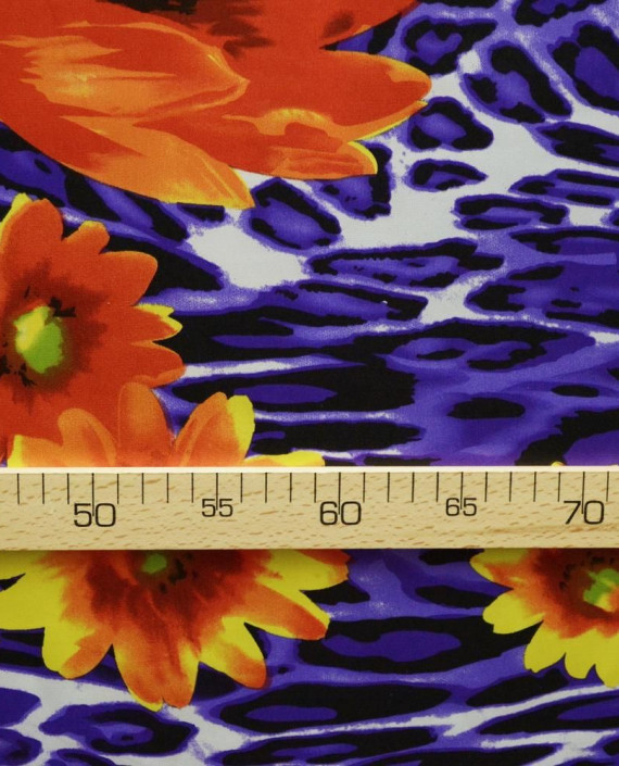 Ткань Атлас Принт 150 цвет синий цветочный картинка 2