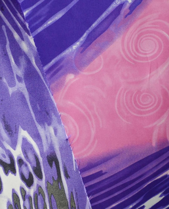 Ткань Атлас Принт 150 цвет синий цветочный картинка 1