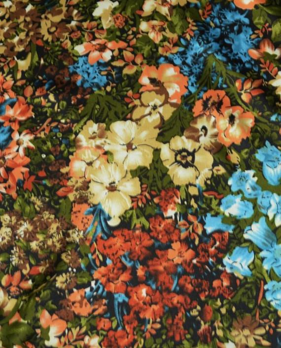 Ткань Атлас Принт 152 цвет разноцветный цветочный картинка