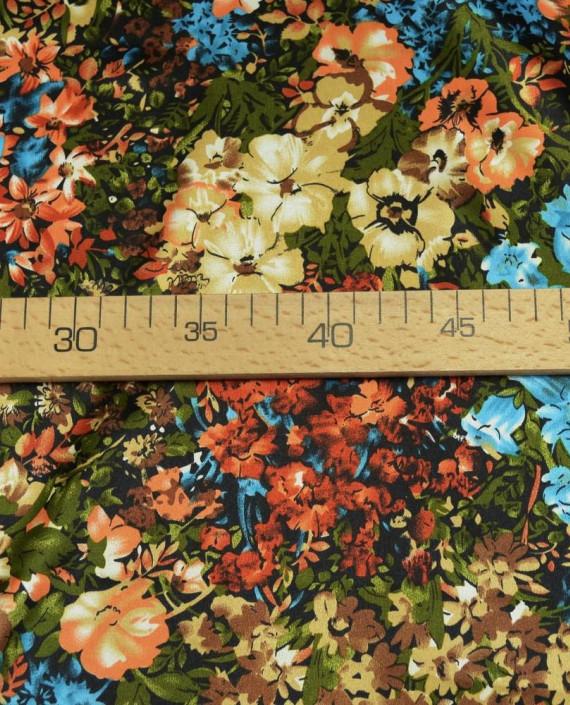 Ткань Атлас Принт 152 цвет разноцветный цветочный картинка 2