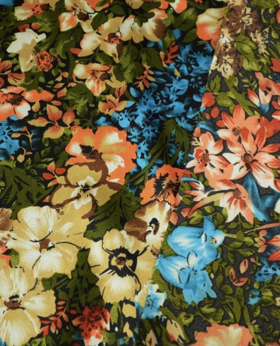 Ткань Атлас Принт 152 цвет разноцветный цветочный картинка 1