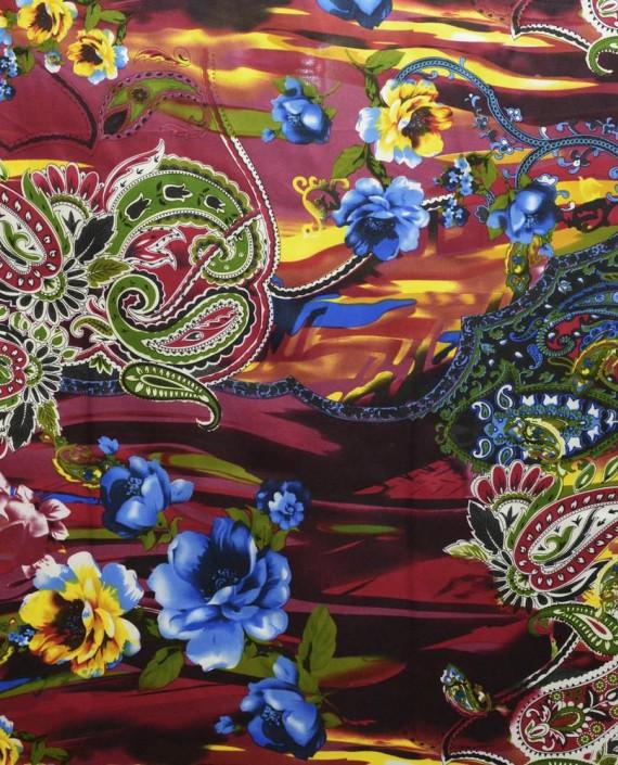 Ткань Атлас Принт 154 цвет разноцветный цветочный картинка