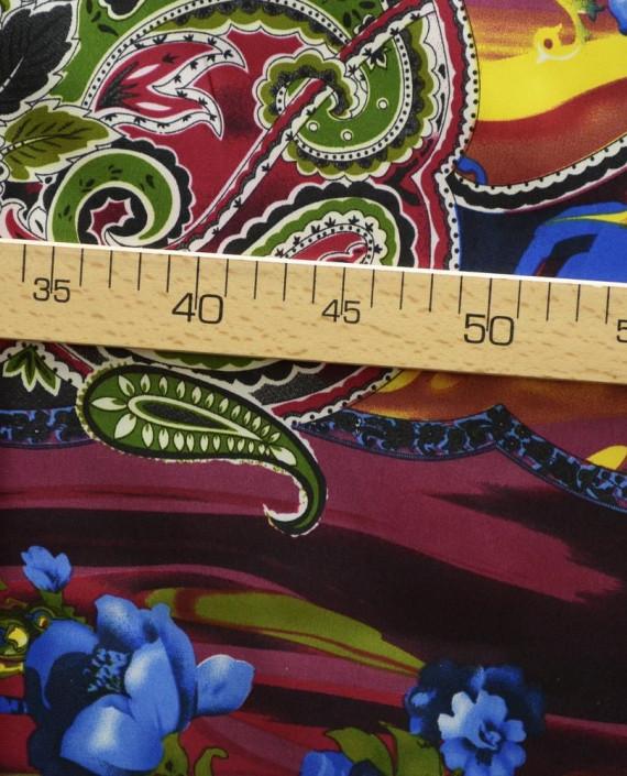 Ткань Атлас Принт 154 цвет разноцветный цветочный картинка 2