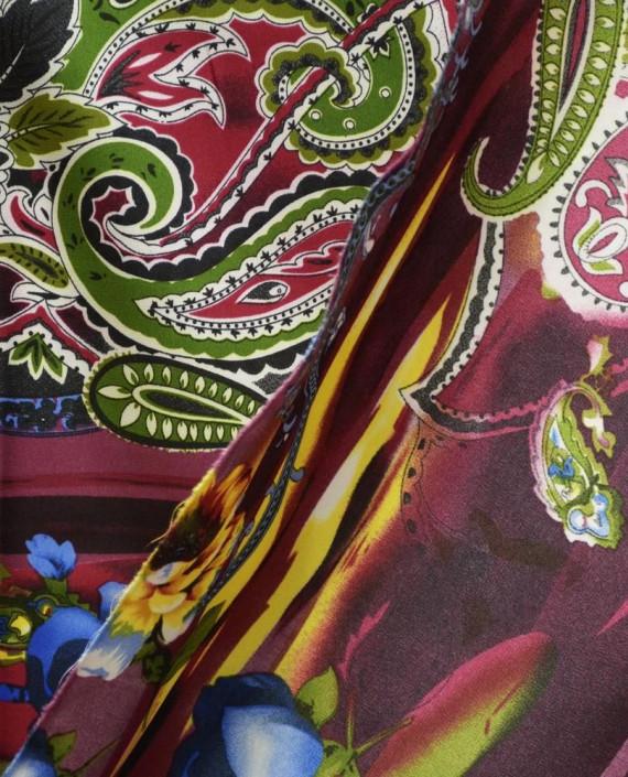Ткань Атлас Принт 154 цвет разноцветный цветочный картинка 1
