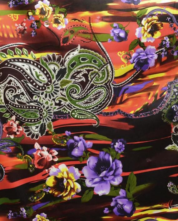Ткань Атлас Принт 155 цвет разноцветный цветочный картинка