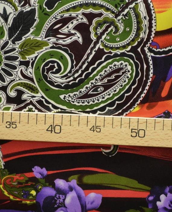 Ткань Атлас Принт 155 цвет разноцветный цветочный картинка 2