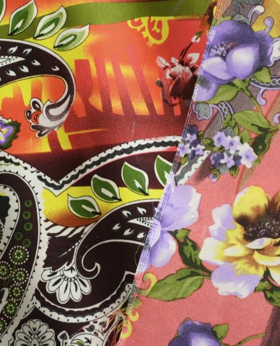 Ткань Атлас Принт 155 цвет разноцветный цветочный картинка 1