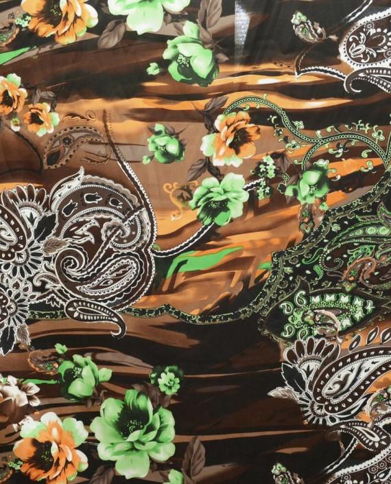 Ткань Атлас Принт 157 цвет разноцветный цветочный картинка