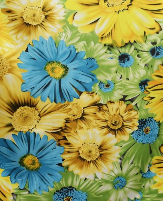 Ткань Атлас Принт 169 цвет желтый цветочный картинка