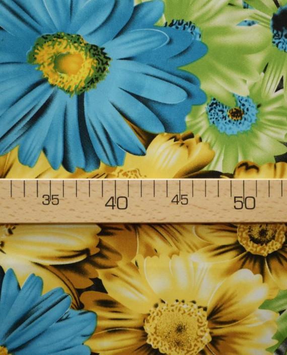 Ткань Атлас Принт 169 цвет желтый цветочный картинка 2