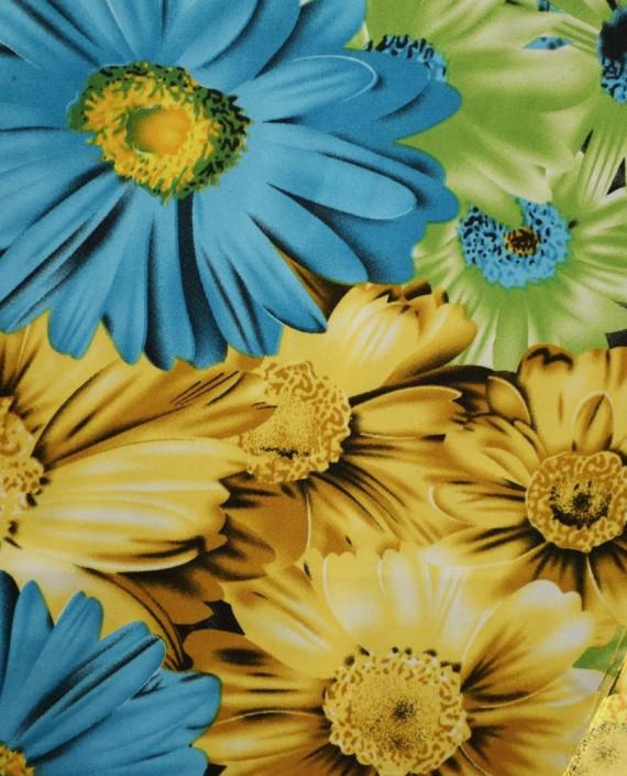 Ткань Атлас Принт 169 цвет желтый цветочный картинка 1
