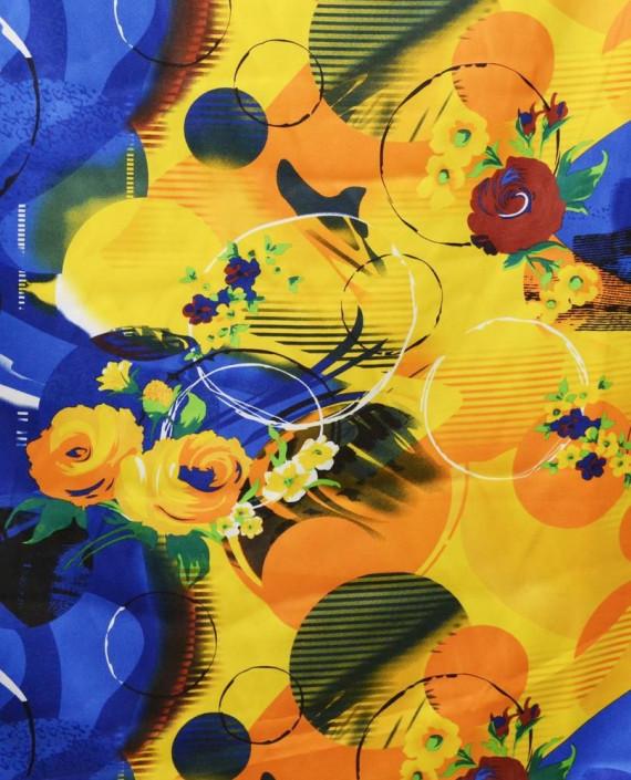 Ткань Атлас Принт 171 цвет желтый картинка