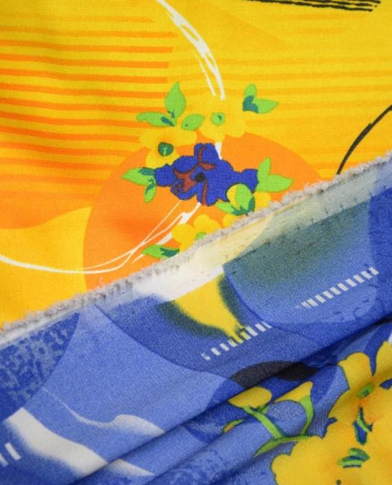 Ткань Атлас Принт 171 цвет желтый картинка 1