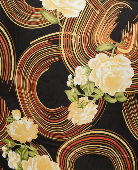Ткань Атлас Принт 172 цвет черный абстрактный картинка