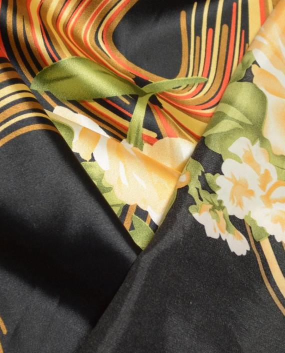 Ткань Атлас Принт 172 цвет черный абстрактный картинка 1
