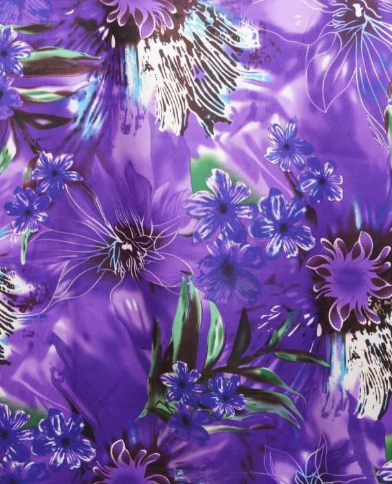 Ткань Атлас Принт 173 цвет фиолетовый цветочный картинка