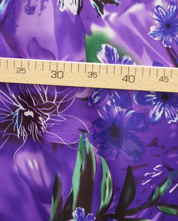 Ткань Атлас Принт 173 цвет фиолетовый цветочный картинка 2