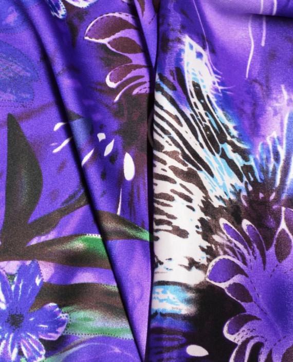 Ткань Атлас Принт 173 цвет фиолетовый цветочный картинка 1