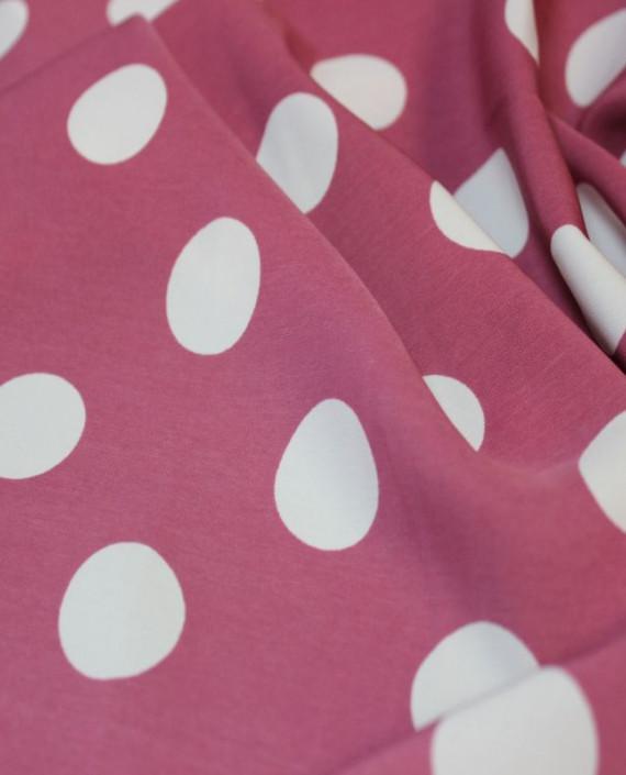 """Ткань Лоренсо """"Белые горохи"""" 025 цвет розовый в горошек картинка 2"""