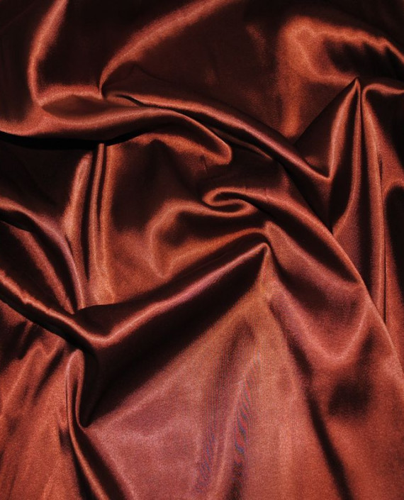 Ткань Атлас стрейч плотный Коричневый 019 цвет коричневый картинка 2