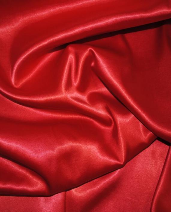 Ткань Атлас стрейч плотный Красный 022 цвет красный картинка 2