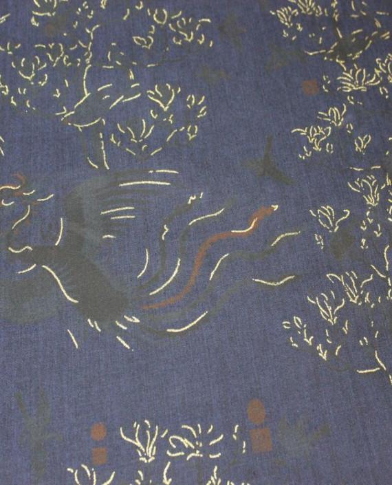 """Ткань Джинс """"Жар-Птица"""" на синем 001 цвет синий абстрактный картинка"""