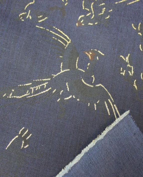 """Ткань Джинс """"Жар-Птица"""" на синем 001 цвет синий абстрактный картинка 2"""