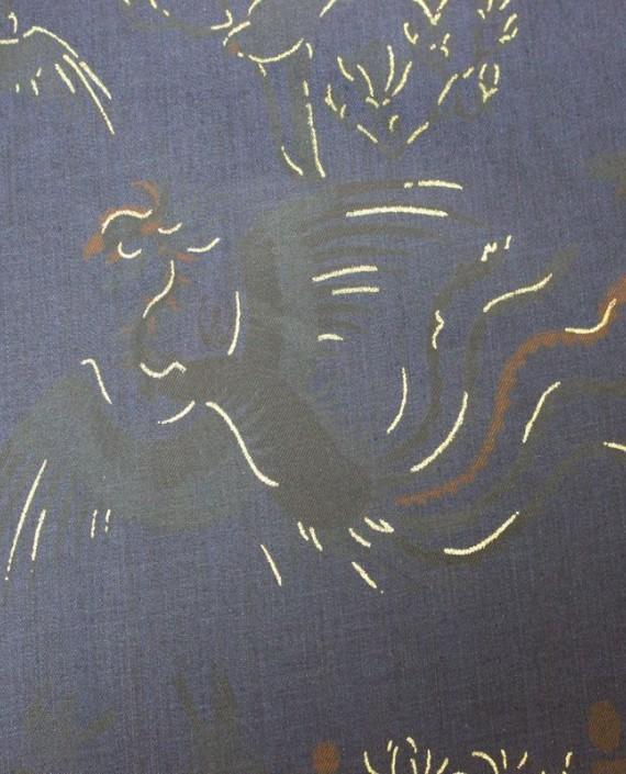"""Ткань Джинс """"Жар-Птица"""" на синем 001 цвет синий абстрактный картинка 1"""