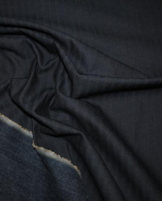 """Ткань Джинс """"Елочка"""" 0001 цвет серый геометрический картинка 2"""