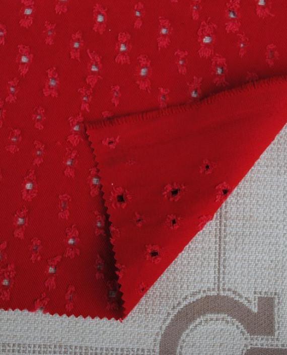 """Ткань Джинс """"Решето"""" 021 цвет красный картинка"""