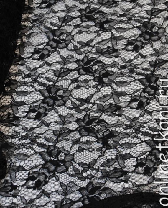 """Ткань Гипюр-стрейч """"Черный"""" 028 цвет черный цветочный картинка 4"""
