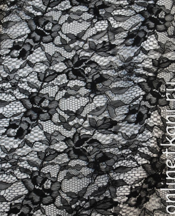"""Ткань Гипюр-стрейч """"Черный"""" 028 цвет черный цветочный картинка 1"""