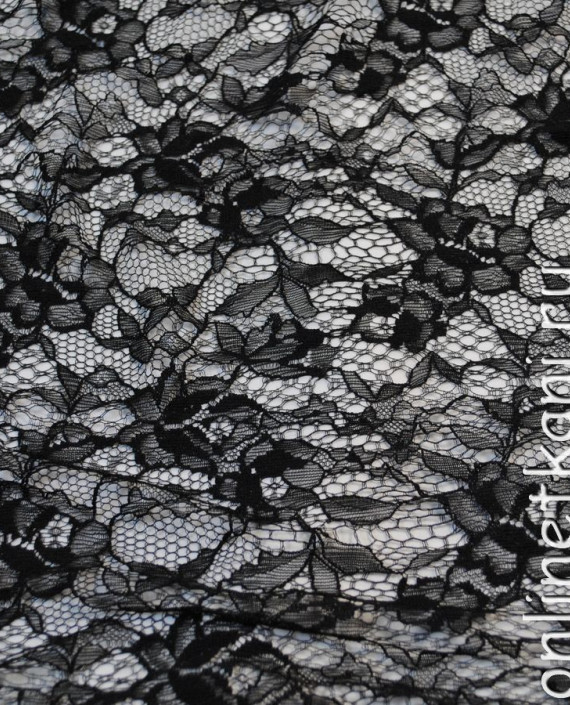 """Ткань Гипюр-стрейч """"Черный"""" 028 цвет черный цветочный картинка 3"""