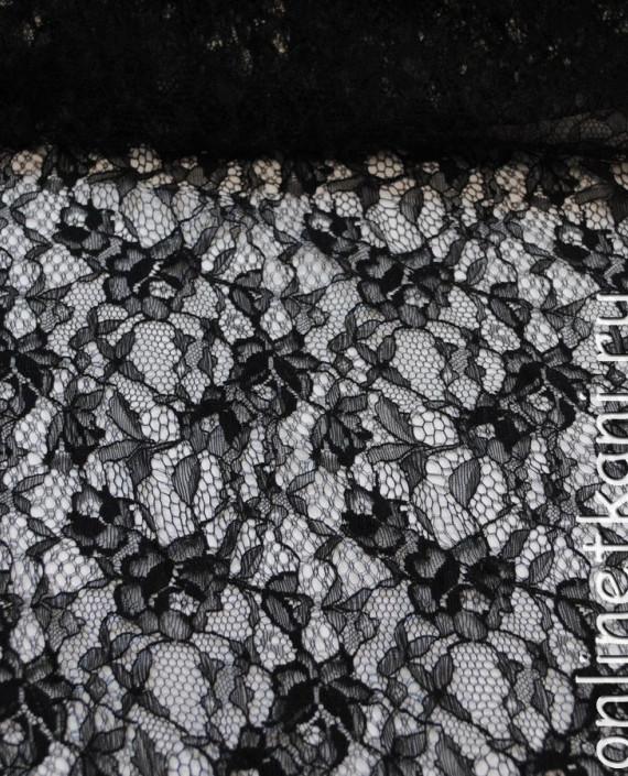 """Ткань Гипюр-стрейч """"Черный"""" 028 цвет черный цветочный картинка 2"""