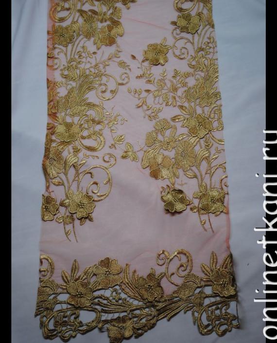 Ткань Гипюр с жестким золотым кружевом 031 цвет золотой цветочный картинка