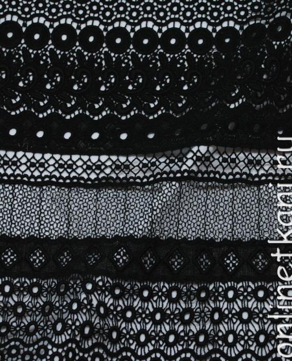 """Ткань Гипюр Рассыпной """"Черный-2"""" 036 цвет черный абстрактный картинка 2"""