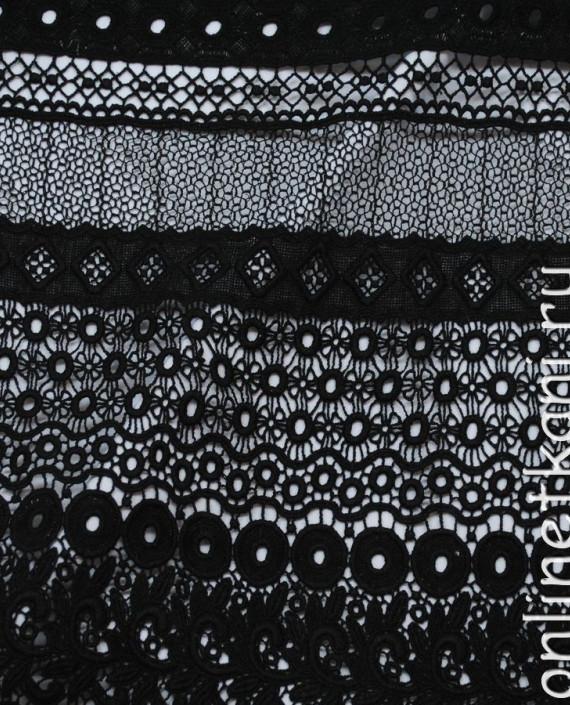 """Ткань Гипюр Рассыпной """"Черный-2"""" 036 цвет черный абстрактный картинка 1"""