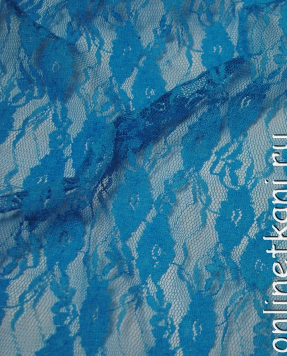 """Ткань Гипюр-стрейч """"Голубой"""" 038 цвет голубой цветочный картинка"""