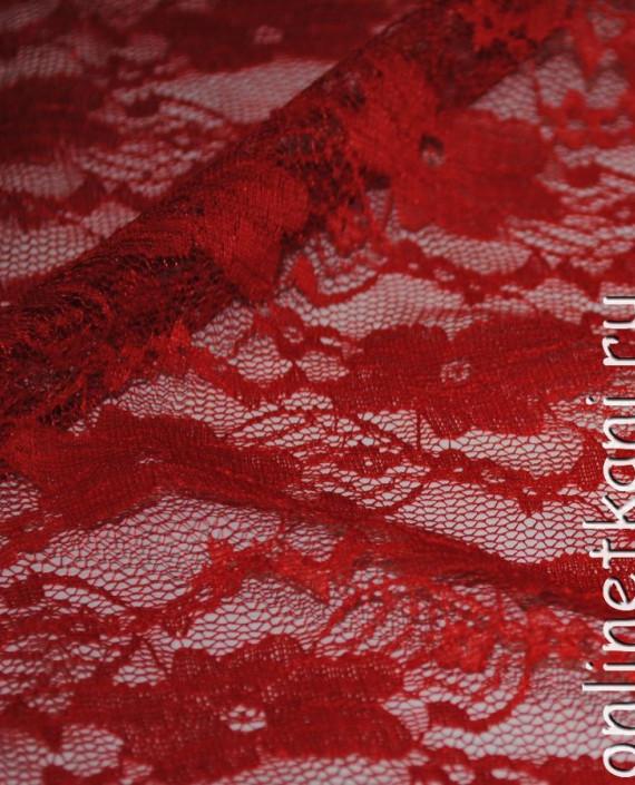 """Ткань Гипюр-стрейч """"Кармен"""" 039 цвет красный цветочный картинка 1"""