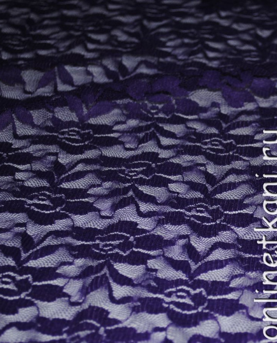 """Ткань Гипюр-стрейч """"Баклажан"""" 040 цвет фиолетовый цветочный картинка 1"""