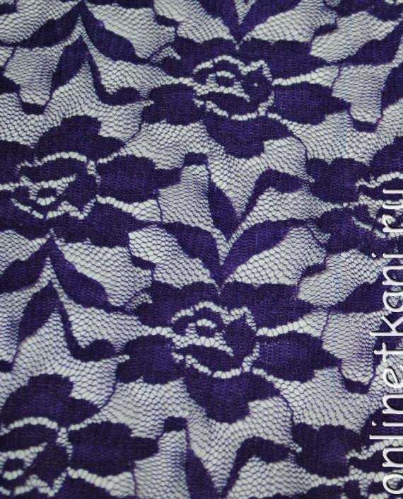 """Ткань Гипюр-стрейч """"Баклажан"""" 040 цвет фиолетовый цветочный картинка"""