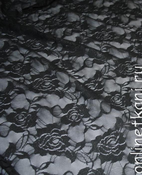 """Ткань Гипюр-стрейч """"Антрацит"""" 044 цвет серый цветочный картинка 4"""