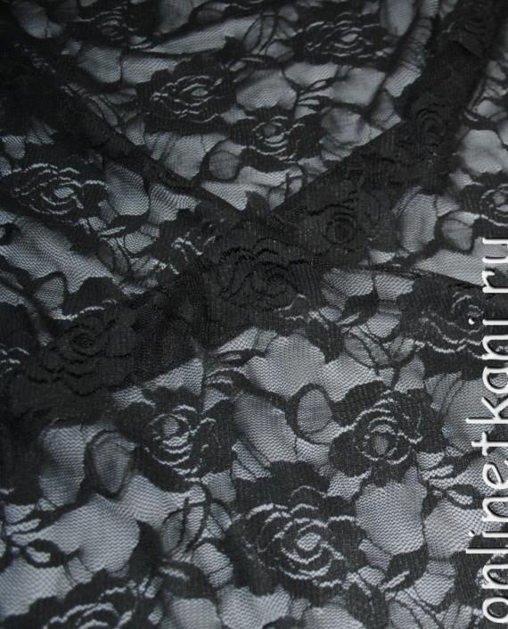 """Ткань Гипюр-стрейч """"Антрацит"""" 044 цвет серый цветочный картинка 2"""