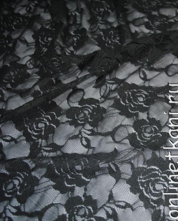 """Ткань Гипюр-стрейч """"Антрацит"""" 044 цвет серый цветочный картинка 1"""