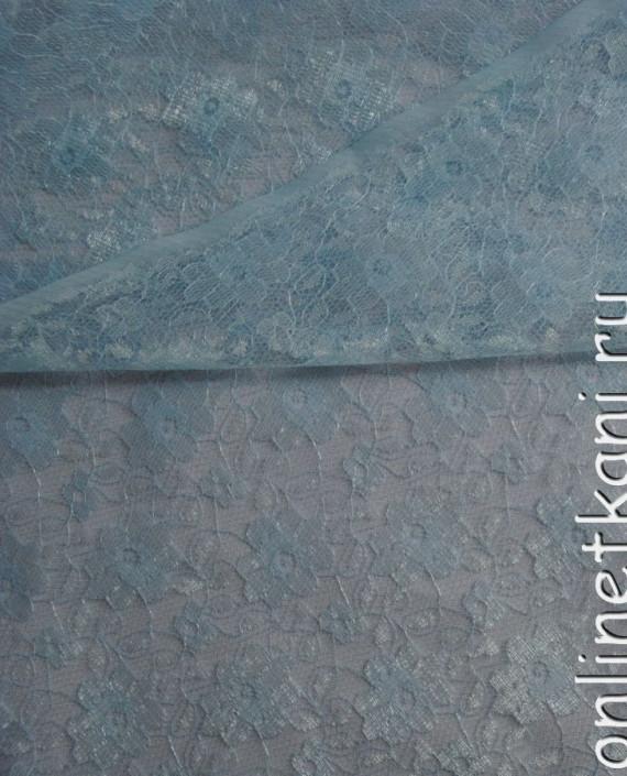 """Ткань Гипюр """"Бриз"""" 046 цвет голубой цветочный картинка"""