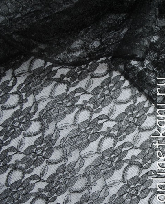 """Ткань Гипюр """"Черный ажур"""" 048 цвет черный цветочный картинка"""