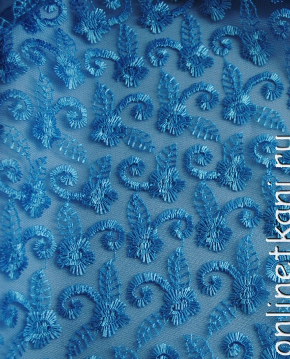 """Ткань Гипюр """"Морская волна"""" 049 цвет голубой абстрактный картинка"""